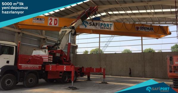 Safiport'un 5 bin m2'lik deposuna 4 ayrı vinç