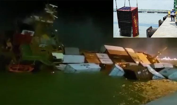 Gemi alabora oldu, konteynerler denize döküldü