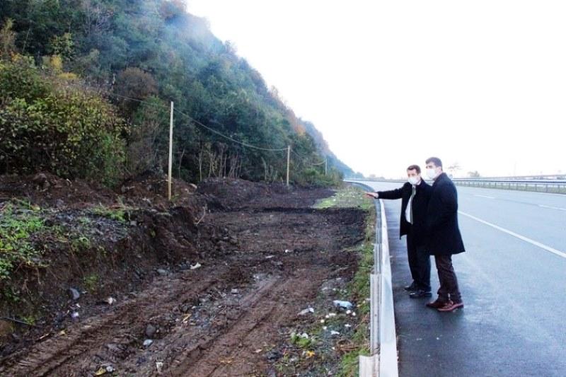 Arhavi'de yapımı devam eden TIR parkında inceleme