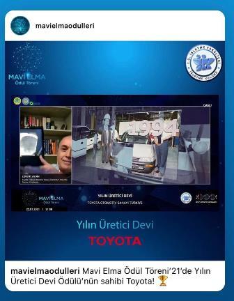 """Toyota Türkiye'ye """"Yılın Üretici Devi"""" ödülü"""