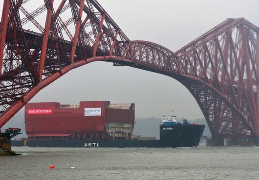 Huge-Section-of-HMS-Prince-of-Wales-Arrives-in-Rosyth