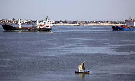 The Suez canal near Ismailia, Egypt